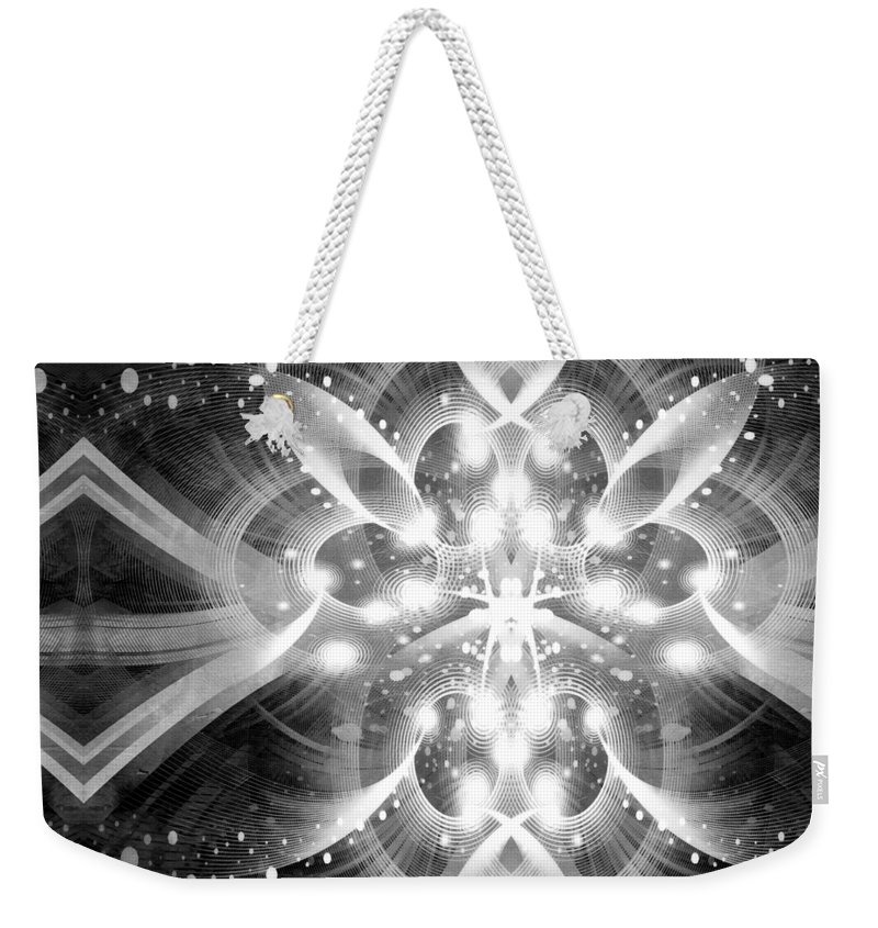 Id Weekender Tote Bag featuring the mixed media Intelligent Design Bw 1 by Angelina Tamez