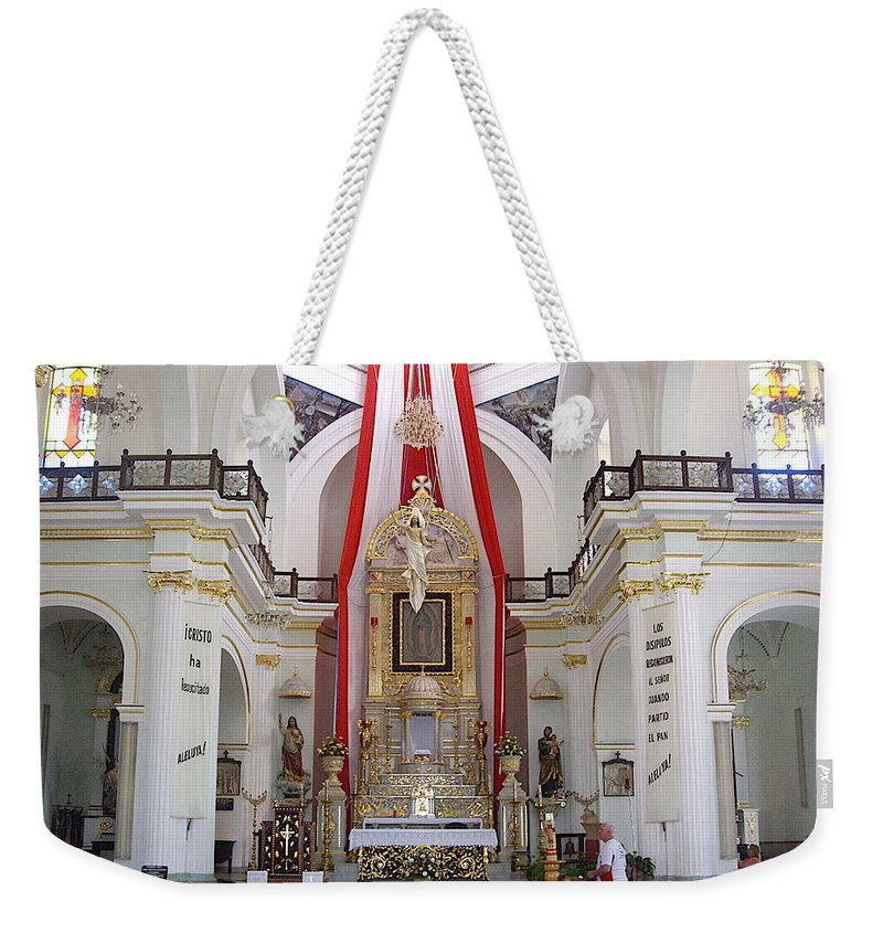 Aimee Mouw Weekender Tote Bag featuring the photograph Interior Of Our Lady Of Guadalupe by Aimee Mouw