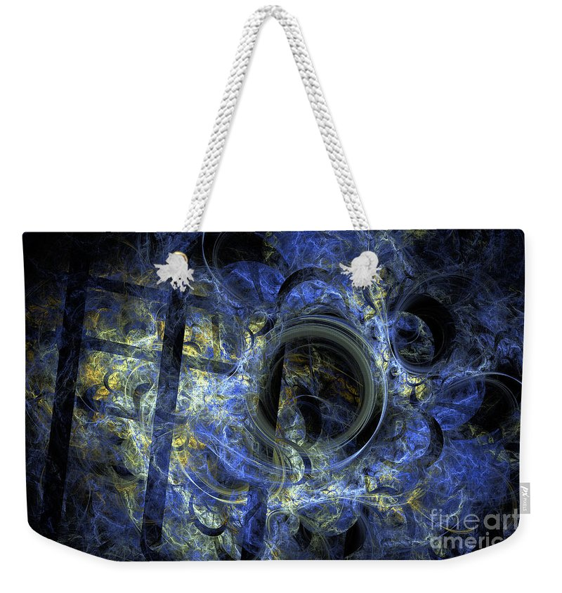 Flame Fractal Weekender Tote Bag featuring the digital art Into The Blue Abyss by Ann Garrett