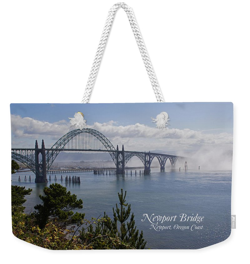 Newport Weekender Tote Bag featuring the photograph Into The Fog At Newport With Text by Mick Anderson