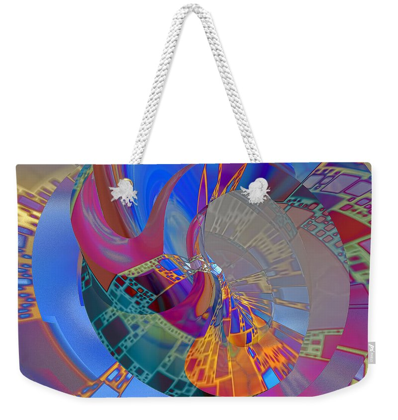 Abstract Weekender Tote Bag featuring the digital art Into The Inner World by Deborah Benoit