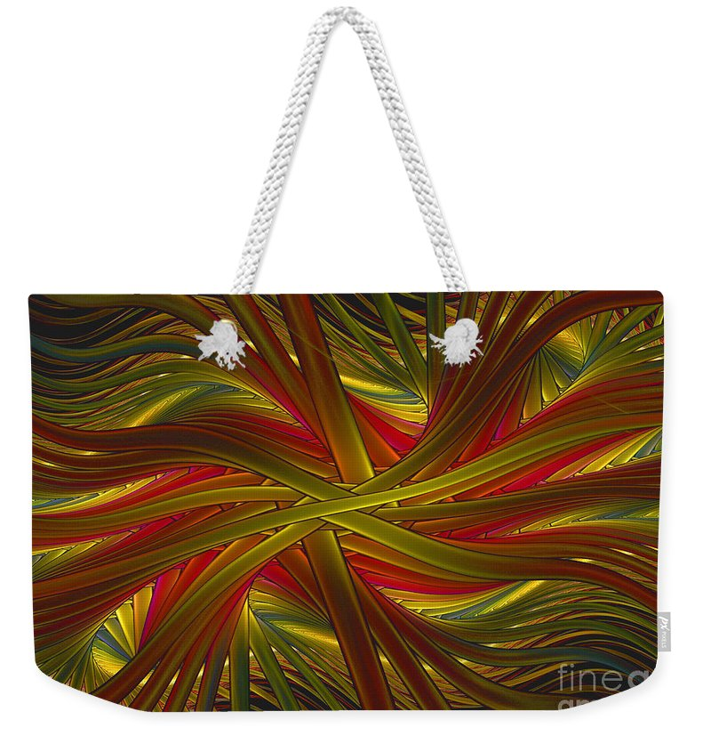 Fractal Weekender Tote Bag featuring the digital art Into The Web by Deborah Benoit