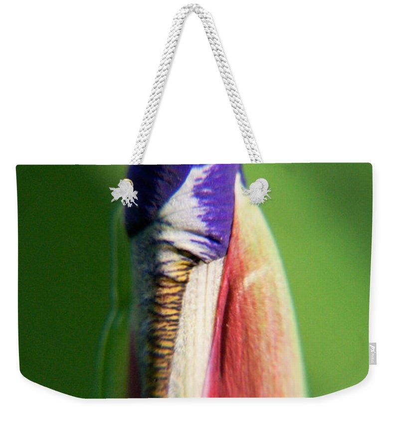 Iris Weekender Tote Bag featuring the photograph Iris Bud 1 by Douglas Barnett