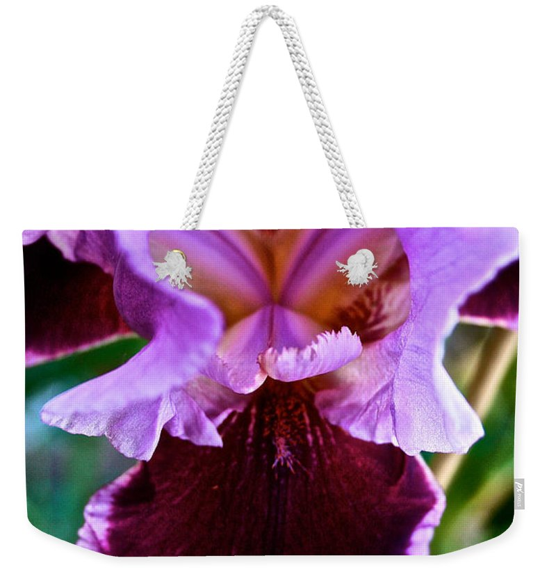 Outdoors Weekender Tote Bag featuring the photograph Iris by Susan Herber