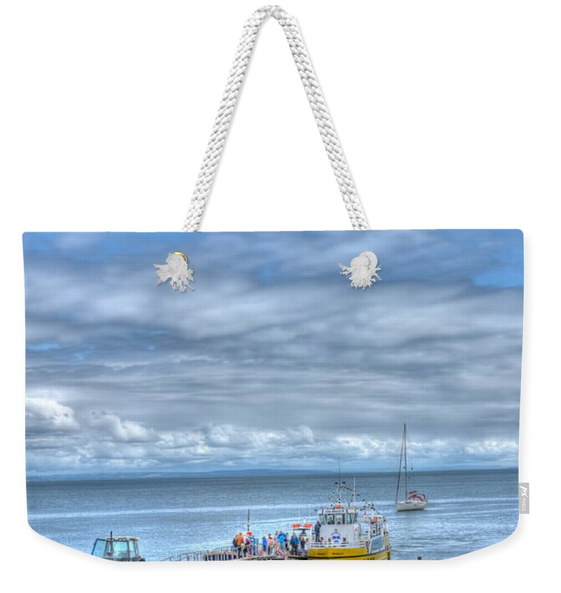Tenby Castle Beach Weekender Tote Bag featuring the photograph Island Hoppers 2 by Steve Purnell