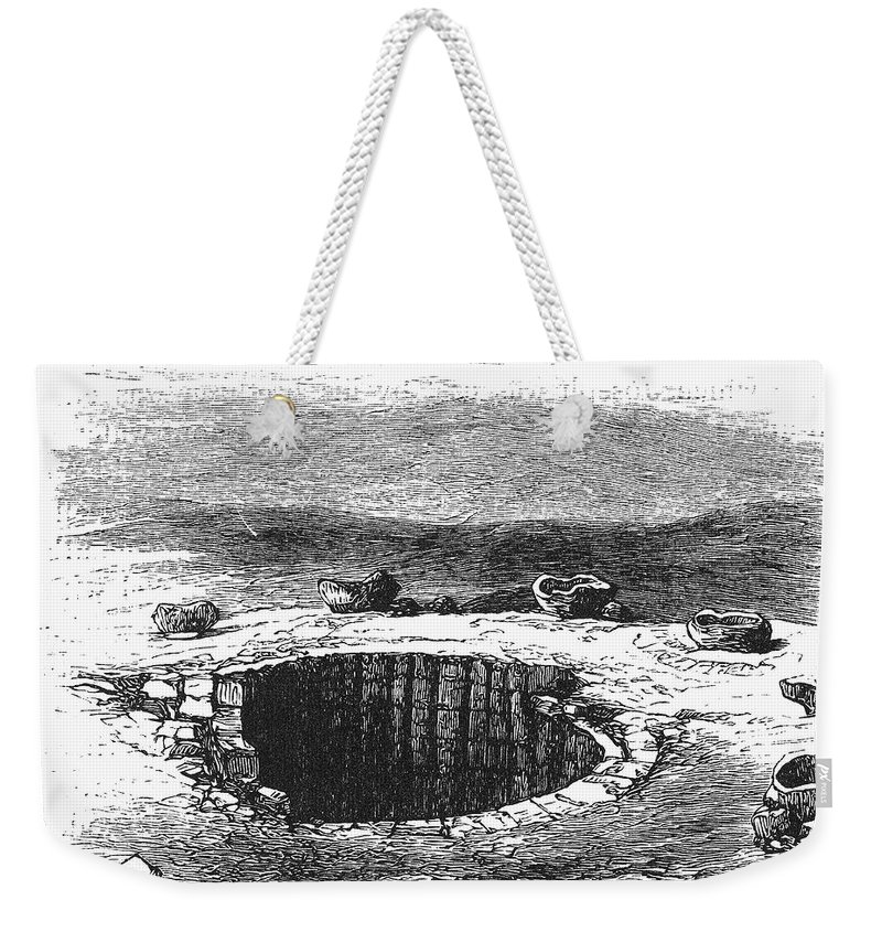 19th Century Weekender Tote Bag featuring the photograph Israel: Well And Troughs by Granger