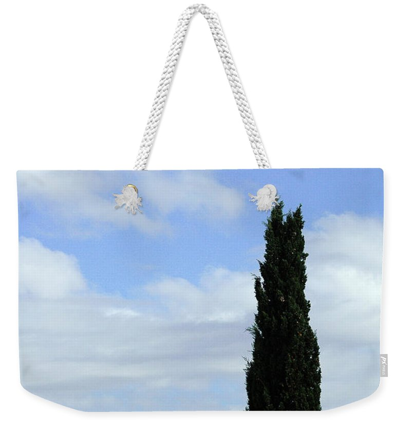 Cypress Weekender Tote Bag featuring the photograph Italian Cyress And Red Tile Roof Rome Italy by Mike Nellums