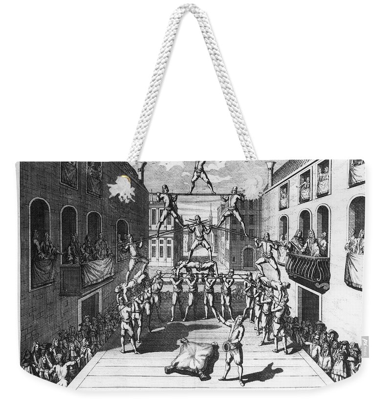 1722 Weekender Tote Bag featuring the photograph Italy: Acrobats, C1722 by Granger