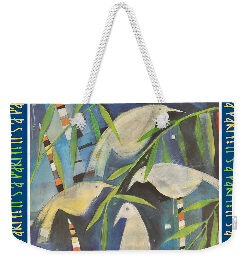 Birds Weekender Tote Bag featuring the painting Its A Party Poster Image by Tim Nyberg