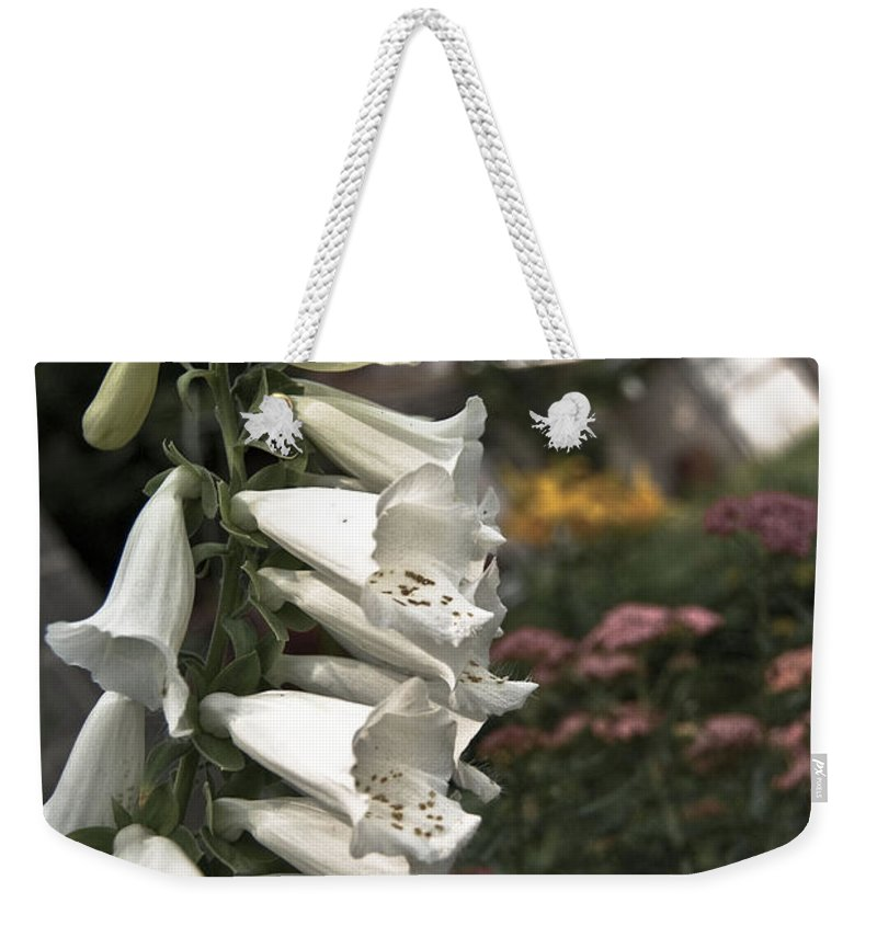 Agriculture Weekender Tote Bag featuring the digital art Ivory Foxglove by Danielle Summa