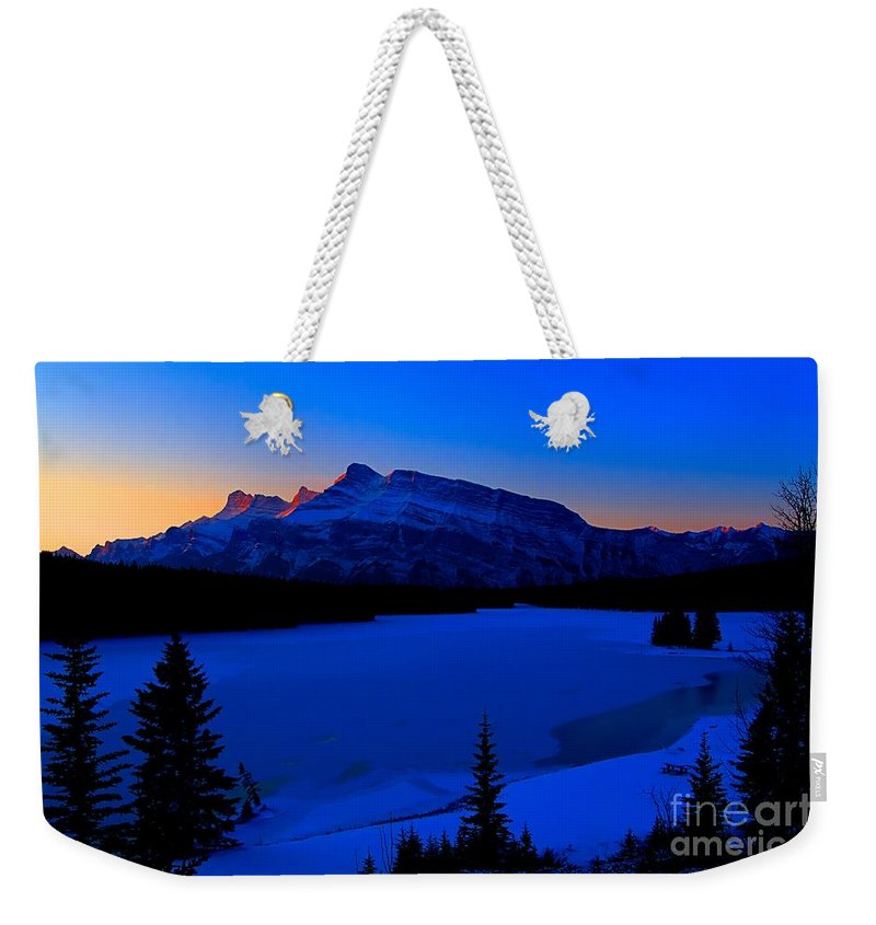 Two Jack Lake Weekender Tote Bag featuring the photograph Jack Frost Blues by James Anderson