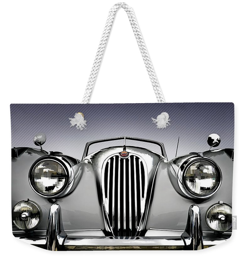 Vintage Weekender Tote Bag featuring the digital art Jag Convertible by Douglas Pittman