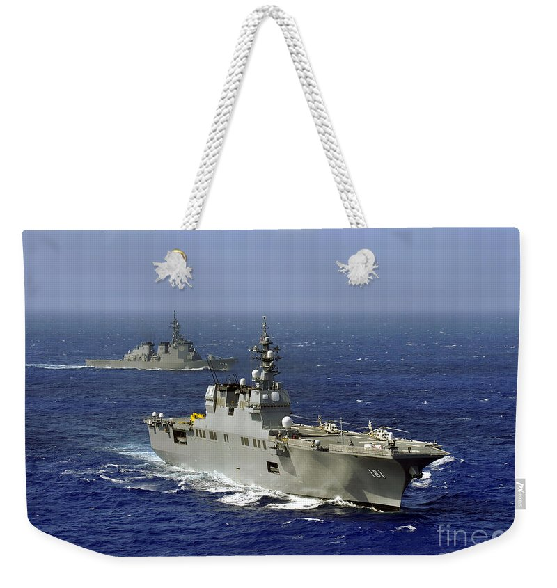 Jds Kirishima Weekender Tote Bag featuring the photograph Jds Hyuga Sails In Formation With U.s by Stocktrek Images