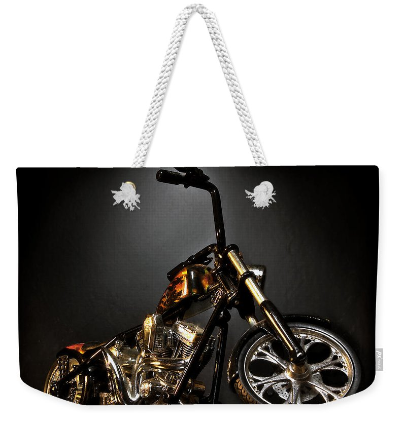 Weekender Tote Bag featuring the photograph Jesse James Bike 2 Detroit MI by Nicholas Grunas