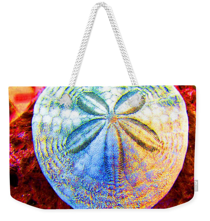 Sand Dollar Weekender Tote Bag featuring the photograph Jeweled Sand Dollar by Marie Jamieson