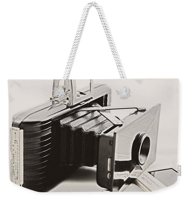Camera Weekender Tote Bag featuring the photograph Jiffy Kodak Vp Camera by Kathleen K Parker