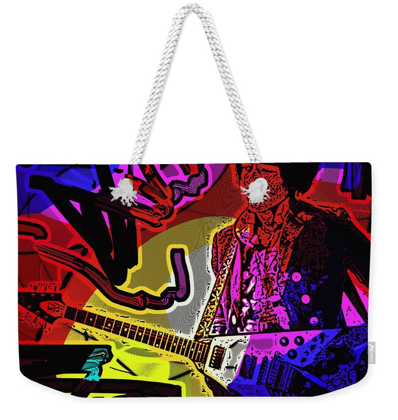 Jimi Hendrix Weekender Tote Bag featuring the photograph Jimi Hendrix Number 22 by George Pedro