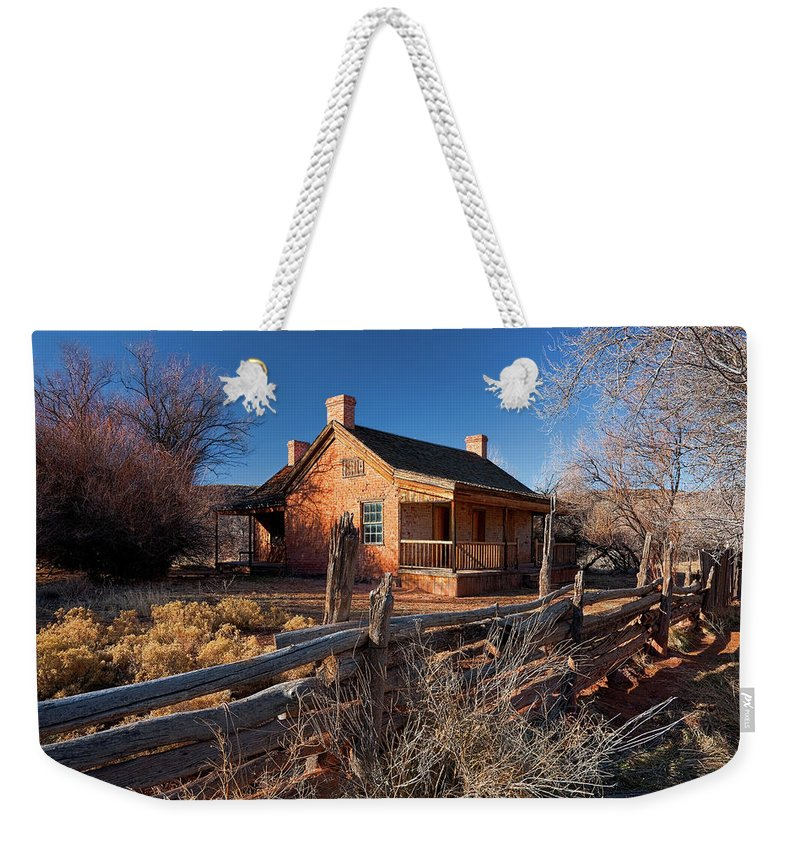 Home Weekender Tote Bag featuring the photograph John And Ellen Wood Home by Christopher Holmes