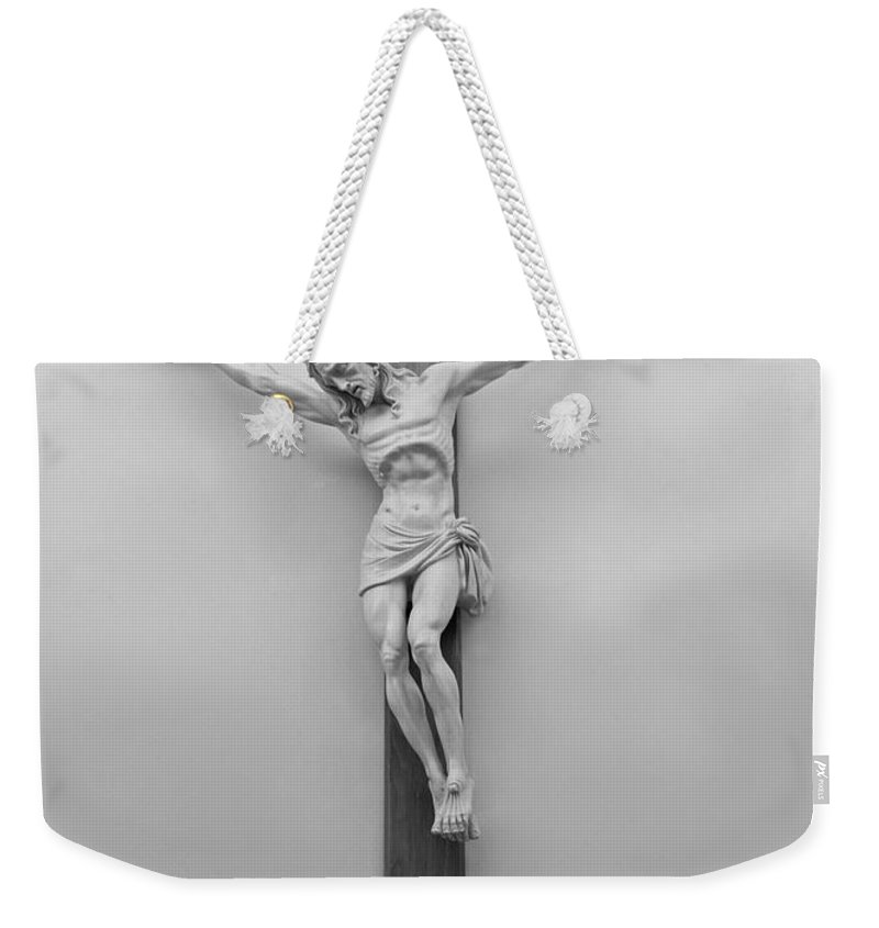 Word Weekender Tote Bag featuring the photograph John Chapter Three Verse Sixteen by Carl Deaville