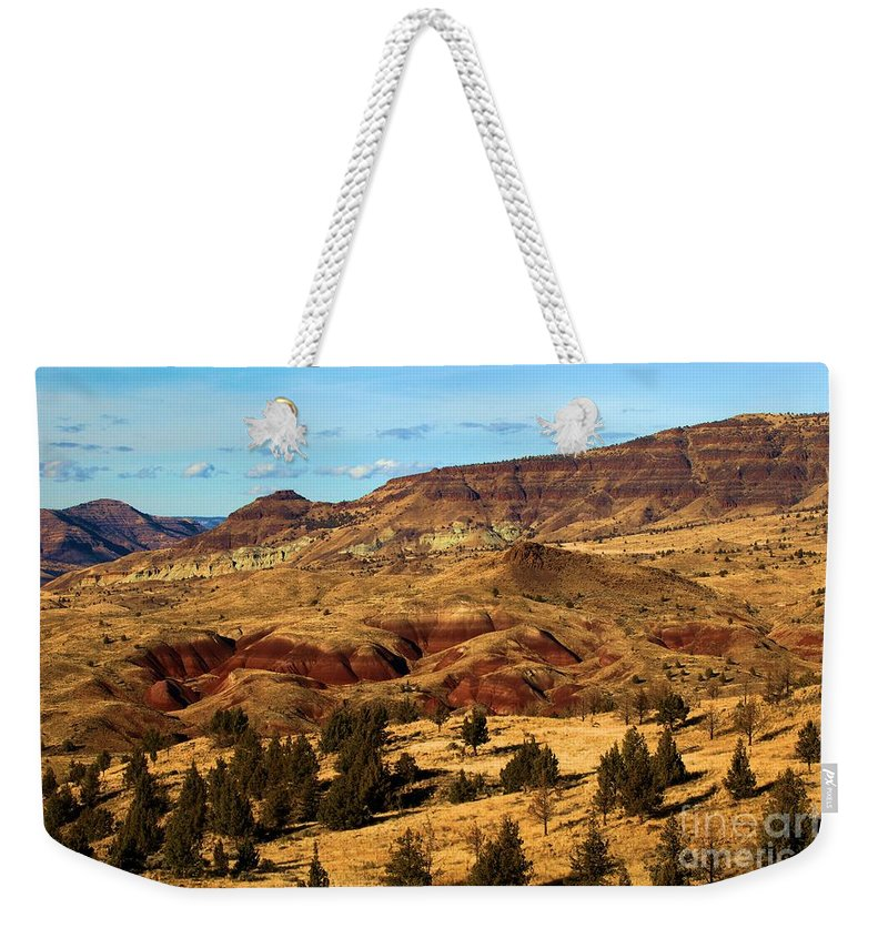 John Day Fossil Beds National Monument Weekender Tote Bag featuring the photograph John Day Blue Basin by Adam Jewell