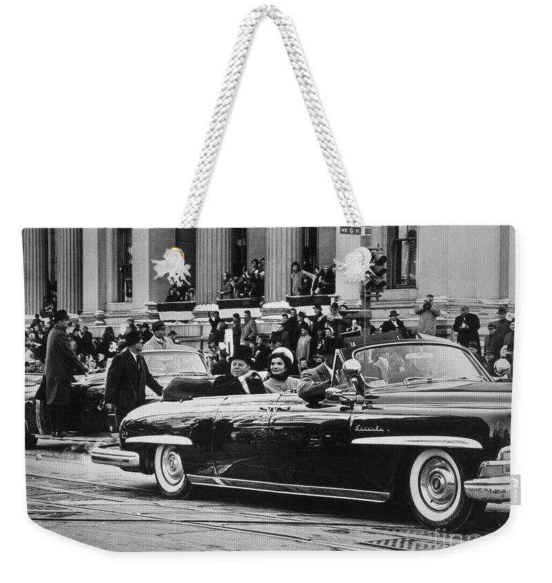1961 Weekender Tote Bag featuring the photograph John F. Kennedy (1917-1963) by Granger