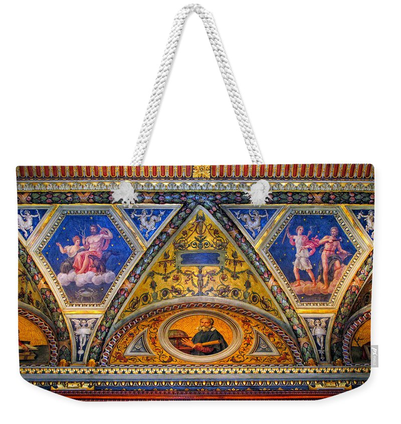Jp Morgan Weekender Tote Bag featuring the photograph Jp Morgan Library Ceiling Detail by Dave Mills