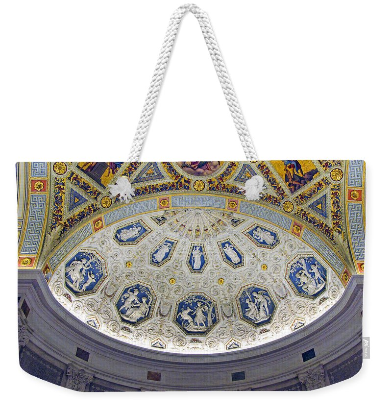 Jp Morgan Library Weekender Tote Bag featuring the photograph Jp Morgan Library Ornate Ceiling by Dave Mills