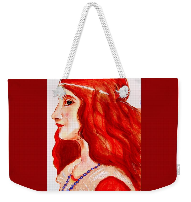 Pre-raphaelite Weekender Tote Bag featuring the painting 'juliet' by Rusty Gladdish