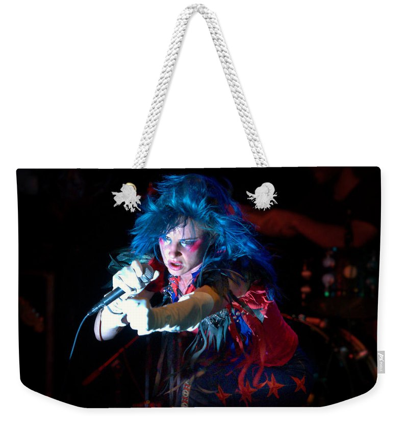 Juliette Lewis Weekender Tote Bag featuring the photograph Juliette Lewis by Jeff Ross