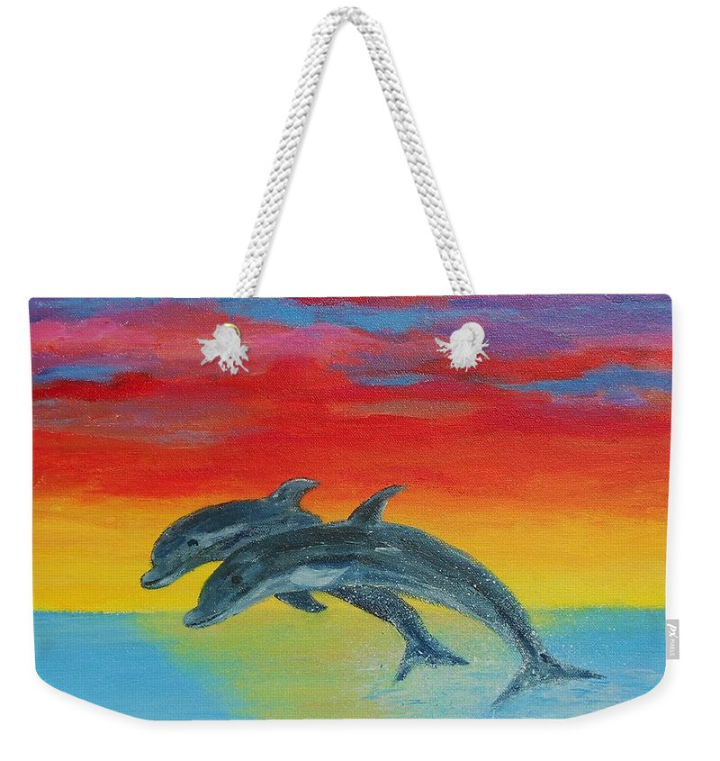 Sunset Weekender Tote Bag featuring the painting Jumping Dolphins Left by Jamie Frier