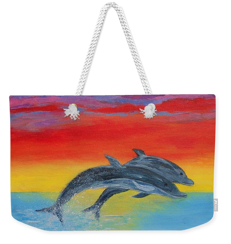 Sunset Weekender Tote Bag featuring the painting Jumping Dolphins Right by Jamie Frier