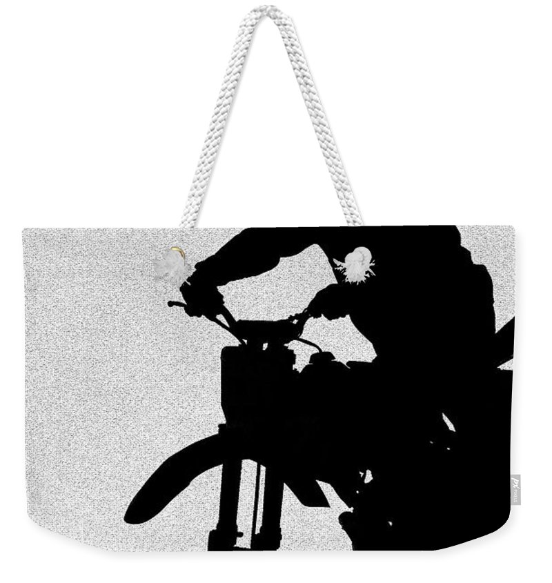 Motorcycle Weekender Tote Bag featuring the photograph Jumping High by Carolyn Marshall