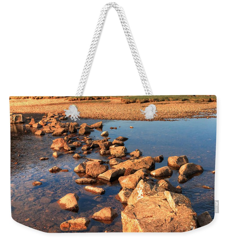 Bay Weekender Tote Bag featuring the photograph Jumping Stones by Svetlana Sewell