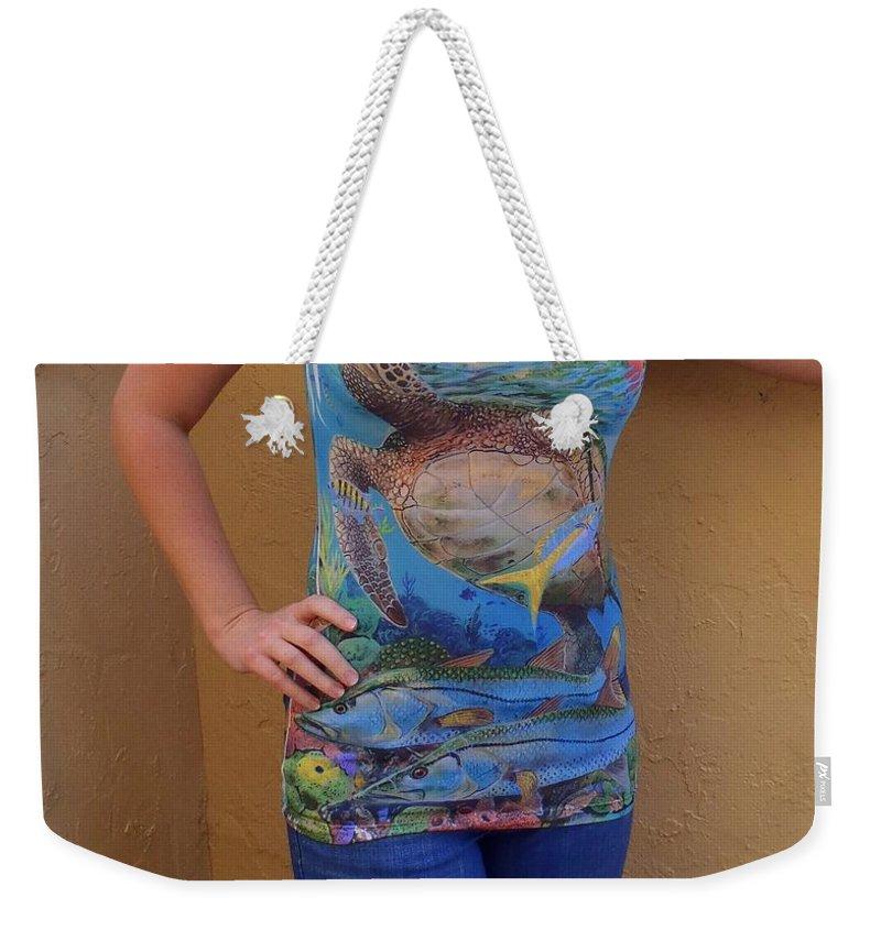 Shirts Weekender Tote Bag featuring the digital art Jupiter Performance Ladies Shirt by Carey Chen