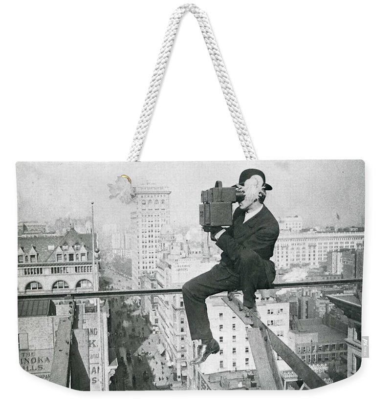 New York Skyscraper Photograph Man Hat Sitting High Building Street Skyline Vintage Weekender Tote Bag featuring the photograph Just Smile by Steve K