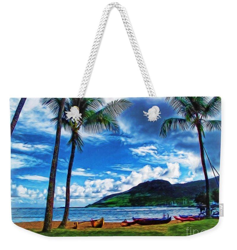 Kauai Weekender Tote Bag featuring the photograph Kauai Beach And Palms by Joan Minchak