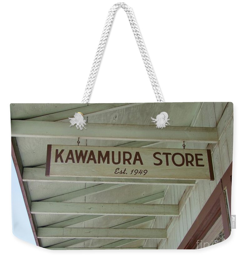 Mary Deal Weekender Tote Bag featuring the photograph Kawamura Store Est 1949 by Mary Deal