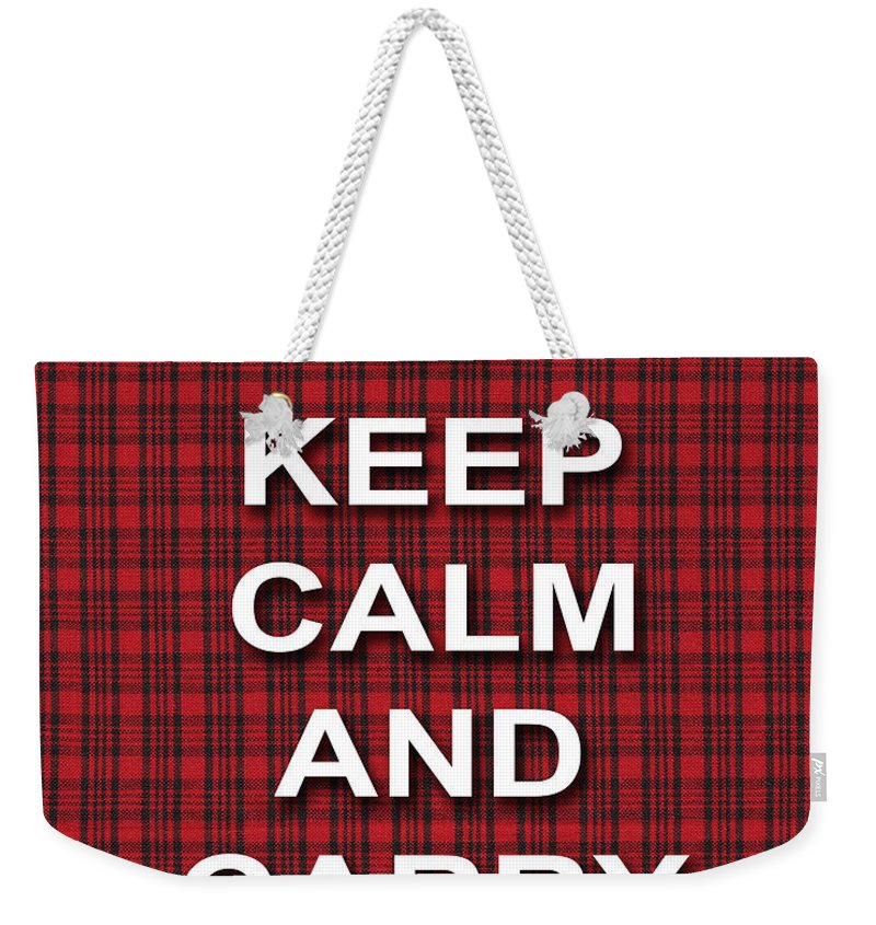 Keep Calm And Carry On Weekender Tote Bag featuring the photograph Keep Calm And Carry On Poster Print Red Black Stripes Background by Keith Webber Jr