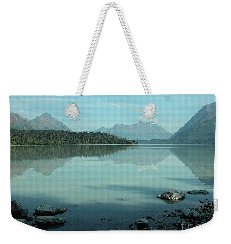 Blue Weekender Tote Bag featuring the photograph Kenai Lake Reflections by Peggy Starks