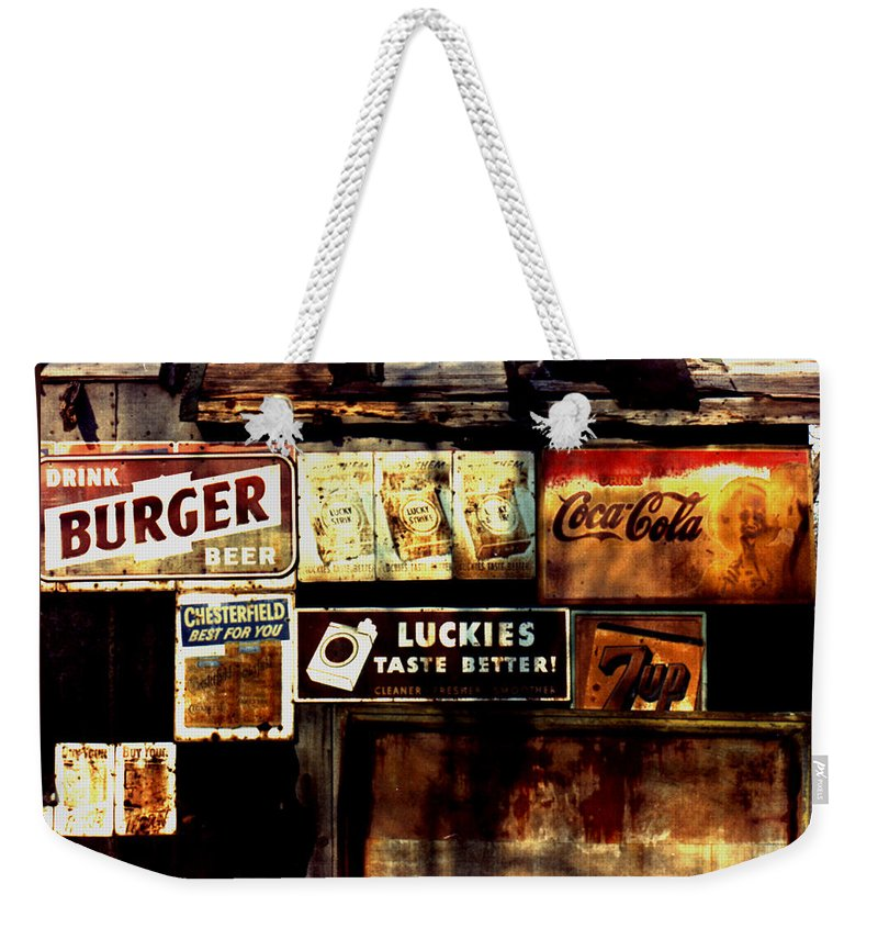 Old Products Weekender Tote Bag featuring the photograph Kentucky Shed Ad Signs by Tom Wurl