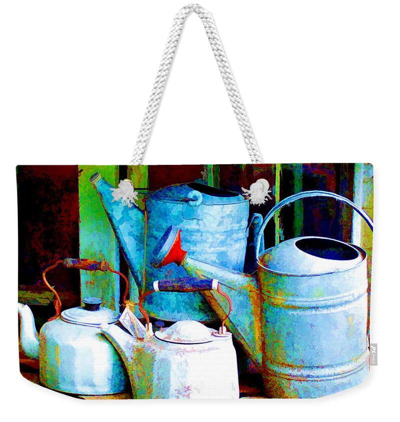 Weekender Tote Bag featuring the painting Kettles And Cans To Water The Garden by Elaine Plesser