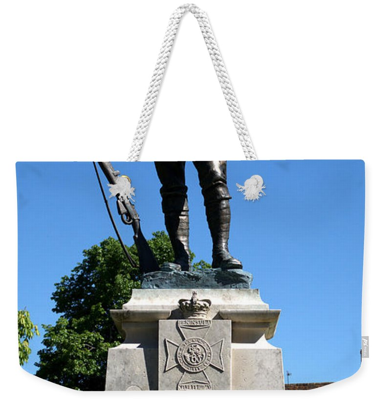 Kings Royal Rifle Corps Weekender Tote Bag featuring the photograph Kings Royal Rifle Corps Memorial In Winchester by Chris Day