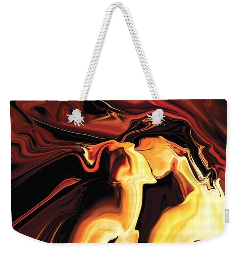 Abstract Weekender Tote Bag featuring the painting Kiss by Rabi Khan