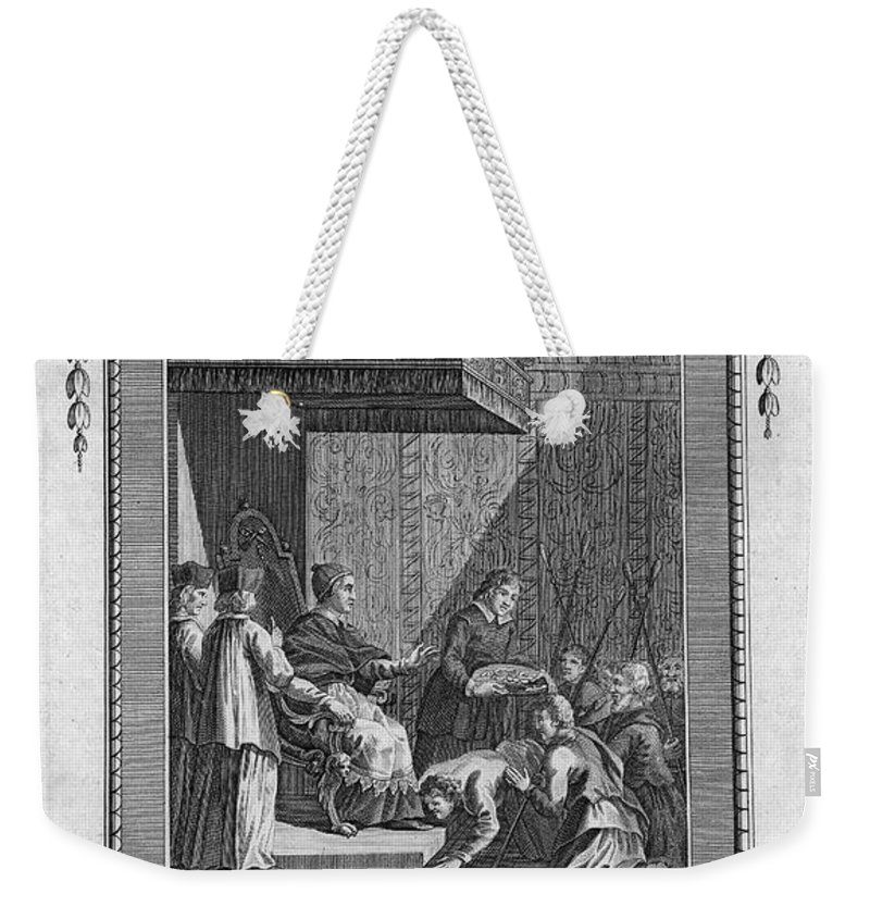 18th Century Weekender Tote Bag featuring the photograph Kissing The Popes Feet by Granger