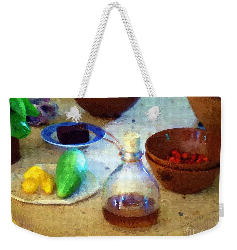 Kitchen Weekender Tote Bag featuring the painting Kitchen Americana by RC DeWinter