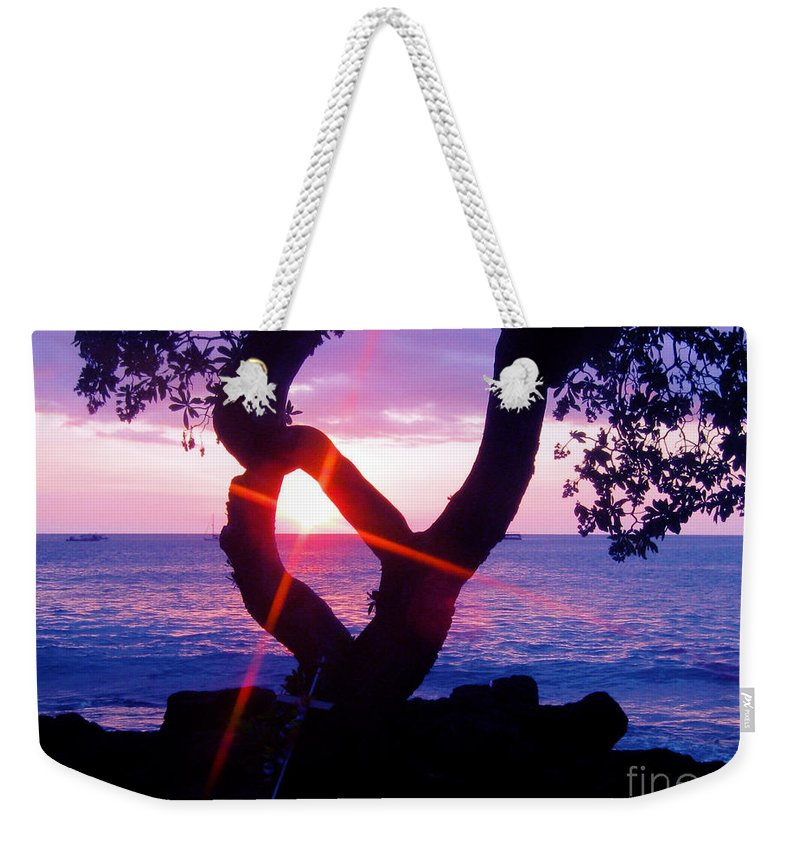 Sunset Weekender Tote Bag featuring the photograph Kona Sunset Hawaii by Jerome Stumphauzer