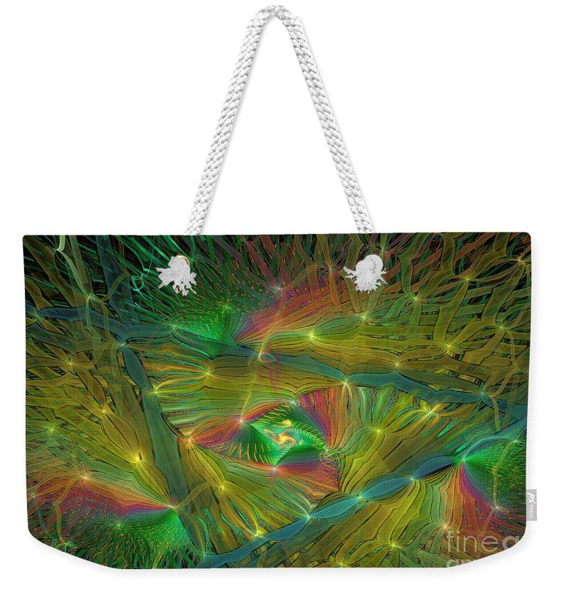 Rainbow Colors Weekender Tote Bag featuring the digital art Lacy Rainbow Triangle by Deborah Benoit