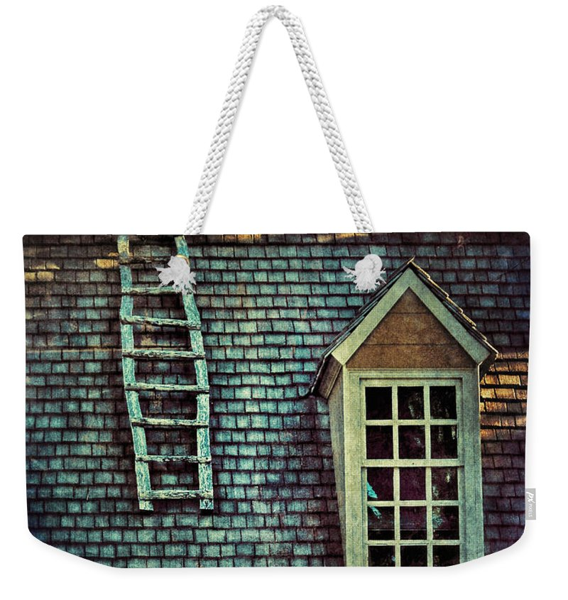 Cottage Weekender Tote Bag featuring the photograph Ladder On Roof by Jill Battaglia