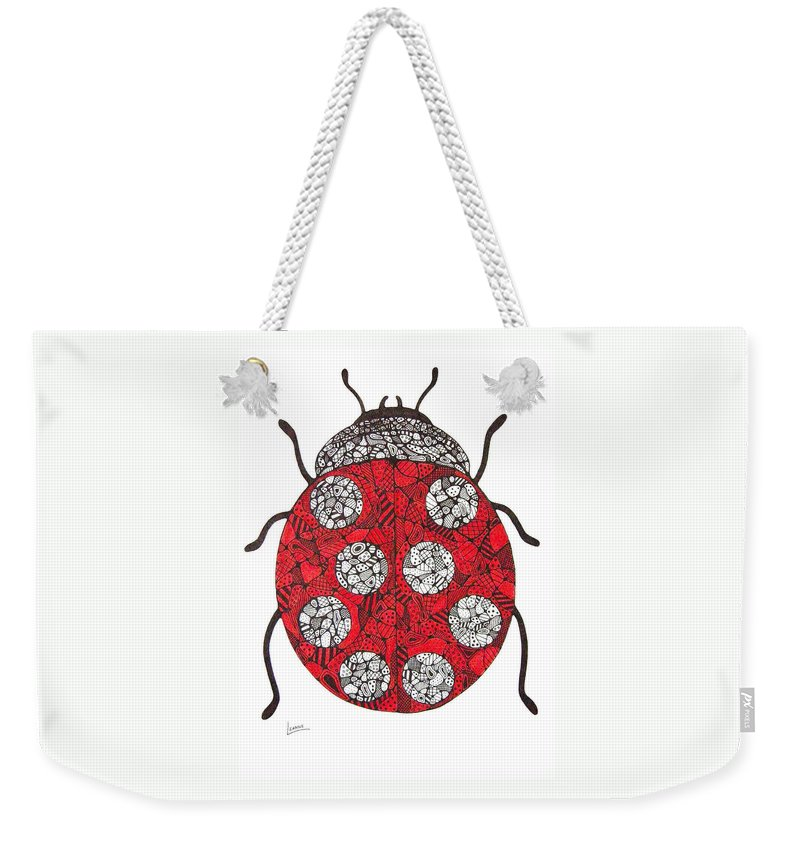 Ladybug Weekender Tote Bag featuring the drawing Lady Bug by Leanne Karlstrom