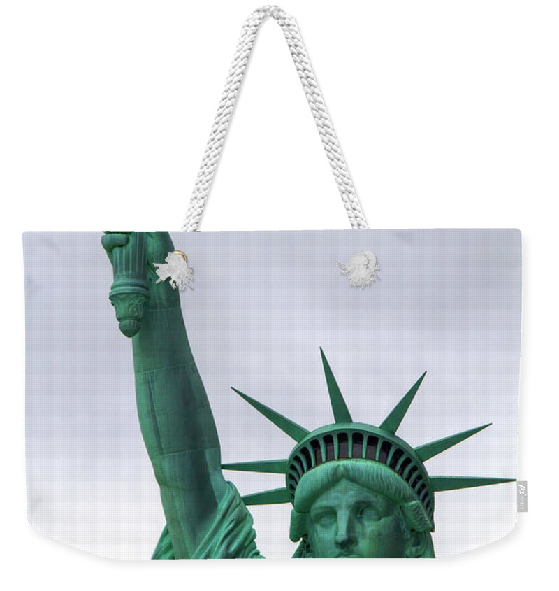 Statue Weekender Tote Bag featuring the photograph Lady Liberty by Bill Lindsay